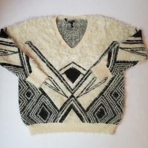 Buffalo David Bitton Fuzzy Sweater White Black L